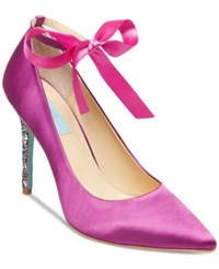 Blue By Betsey Johnson Bri Ankle Tie Evening Pumps Women's Shoes Fuschia