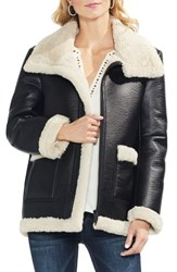 Vince Camuto Faux Leather Shearling Coat Rich Black