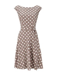 Wallis Taupe Polkadot Fit And Flare Dress Stone