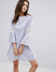 Influence Flare Sleeve Dress With Crochet Detail Blue