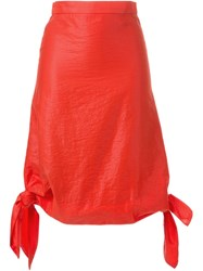 G.V.G.V. Glossy Knot Detail Skirt Red
