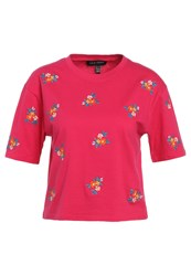 New Look Floral Boxy Print Tshirt Bright Pink