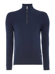 Michael Kors Men's Funnel Neck Zip Detail Textured Jumper Midnight