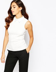 Closet Jacquard Top With Point Collar White
