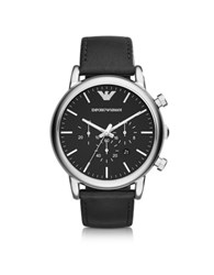Emporio Armani Luigi Silver Tone Stainless Steel And Black Leather Strap Men's Watch