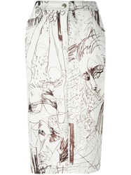 John Galliano Vintage Printed Denim Skirt White