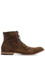 Pantanetti 25Mm Zip And Lace Up Suede Boots Sigaro