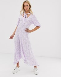 Ghost Hanky Hem Floral Midi Dress With Button Front And Tie Neck Purple