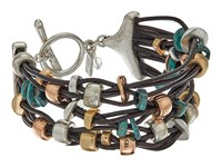 Robert Lee Morris Patina Mixed Metal Bead Multi Row Toggle Bracelet Patina Bracelet Brown