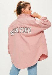 Missguided Petite Pink Slogan Back Oversized Denim Shirt