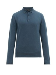 Allude Cashmere Polo Shirt Mid Blue