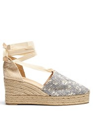 Castaner Campina Canvas Wedge Espadrilles Blue Stripe