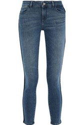 Dl1961 Woman Florence Cropped Velvet Trimmed Low Rise Skinny Jeans Mid Denim