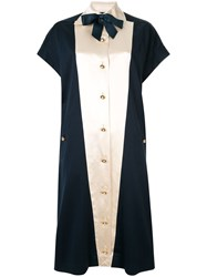 Chanel Vintage Pearl Button Midi Dress Blue