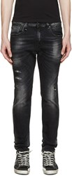 R 13 Black Distressed Skate Jeans