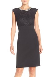 Women's London Times Embellished Lace And Crepe Sheath Dress