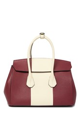 Bally Colorblock Leather Top Handle Bag Red White