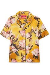 F.R.S For Restless Sleepers Bendis Floral Print Satin Twill Shirt Yellow