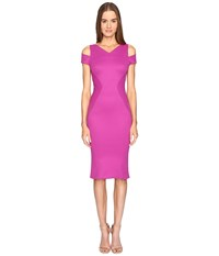 Zac Posen Bondage Jersey Cold Shoulder Short Sleeve Dress Magenta Women's Dress Pink