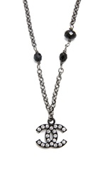Wgaca Vintage Chanel Rhinestone And Bead Necklace Silver Black