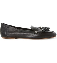 Dune Gondola Tassel Trim Leather Loafers Black Leather