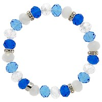 Monet Bead And Crystal Rondel Stretch Bracelet