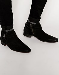 Asos Chelsea Boots In Black Suede With Buckle Strap Black