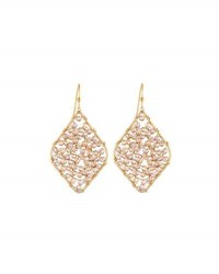 Panacea Beaded Diamond Silhouette Drop Earrings Brown