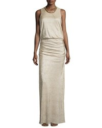 Laundry By Shelli Segal Woven Chain Neckline Metallic Gown Gold Silver