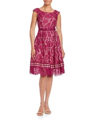 Eliza J Floral Lace Fit And Flare Dress Fig