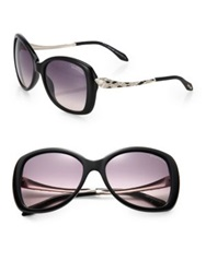 Roberto Cavalli Embellished Snake 57Mm Round Sunglasses Black