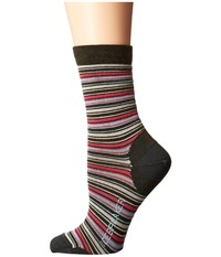 Icebreaker Lifestyle Ultra Light 3Q Crew Stripe Tease 1 Pair Pack Ivy Heather Cherub Teardrop Women's Crew Cut Socks Shoes Multi