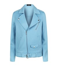 Theory Tralsmin Wool Cashmere Biker Jacket Female Blue
