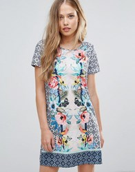 Yumi Shift Dress In Tropical Placement Print Multi