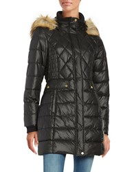 Jones New York Faux Fur Accented Quilted Coat Black