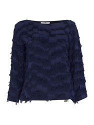 Marella Jonny Long Sleeve Tassle Top Navy
