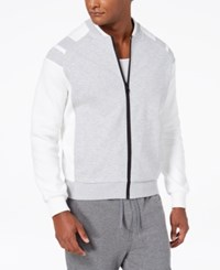 Sean John Men's Pieced Bomber Jacket Grey Heather
