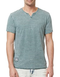 Buffalo David Bitton Striped V Neck Tee Verde