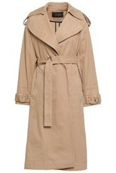 Cedric Charlier Woman Cotton Blend Twill Trench Coat Sand