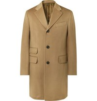 Thom Sweeney Slim Fit Wool And Cashmere Blend Overcoat Camel