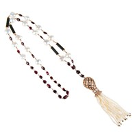 Latelita London Statement Tassel Necklace Pearl And Garnet White Red Gold