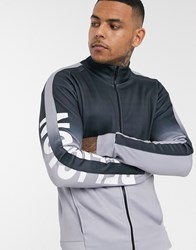Religion Track Jacket With Sleeve Logo In Grey Fade Black