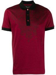 Billionaire Crest Print Polo Shirt Red