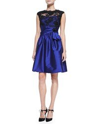 Teri Jon Cap Sleeve Lace Bodice Cocktail Dress Women's