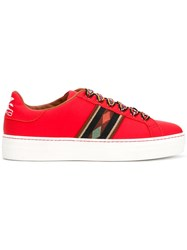 Etro Contrasting Lace Sneakers Red