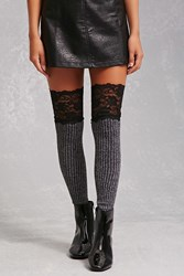 Forever 21 Lace Thigh High Tights Grey Black