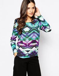 Y.A.S Crystal Abstract Print Long Sleeve Top Alloverprint