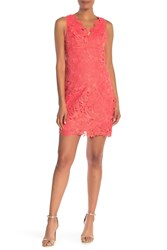 Trina Turk Clover Floral Crochet Lace Sheath Dress Coral Lily