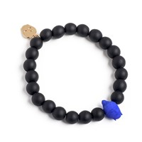 Bu Designs Daiji Onyx And 3D Printed Buddha Bead Bracelet Blue