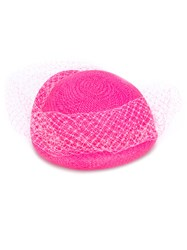 Federica Moretti Veil Embellished Woven Hat Women Polyamide Polyester Straw One Size Pink Purple